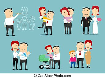 Family life cycle cartoon character set design