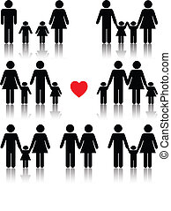 Family life icon set in black with a red heart, reflection