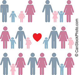 Family life icon set in color with a red heart