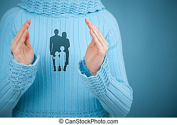 Family life insurance, family services, protecting family, family policy and supporting families concepts. Woman with protective gesture and silhouette representing young family.