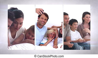 Family life montage of domestic scenes