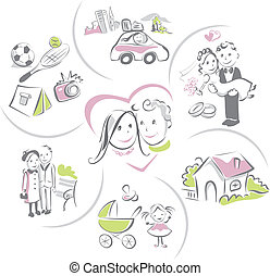 Family life of couple, funny vector