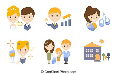 Family Lifestyle Icons Set, Wedding, Business, Birth Of a Baby Flat Vector Illustration