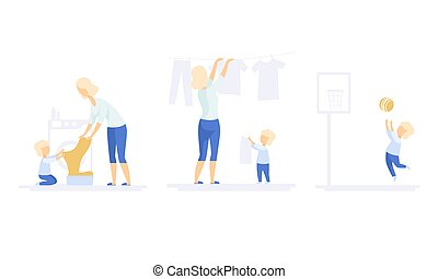 Family Lifestyle Set, Mom and Son Doing Laundry, Hanging Wet Clothes out to Dry. Boy Playing with Ball on Backyard Vector Illustration
