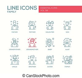 Family - line design icons set - Family - modern vector...