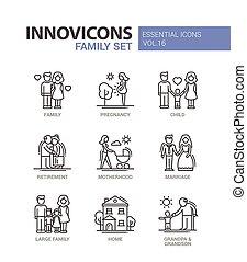 Family - line design icons set