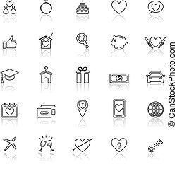 Family line icons with reflect on white background