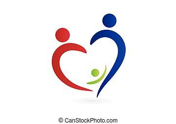 Family logo love heart shape