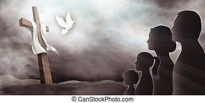 Family looking at the cross. Christian people. Profile silhouette with crucifix on a dark background. Prayer of believers. Lord worship. Dove Holy Spirit. Sacrifice to the cross. Horizontal