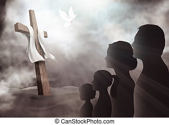 Family looking at the cross. Christian people. Profile silhouette with crucifix on a dark background. Prayer of believers. Lord worship. Dove Holy Spirit. Sacrifice to the cross
