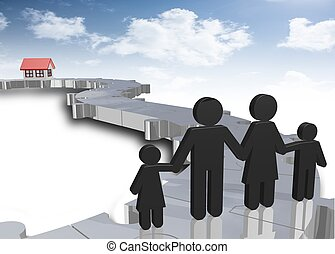 family looking for the dream house with puzzle path