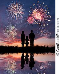 Family looks beautiful fireworks - The happy family looks...