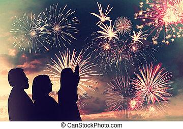 Family looks fireworks - The happy family looks holiday...