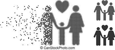 Family Love Dissolving Pixel Halftone Icon