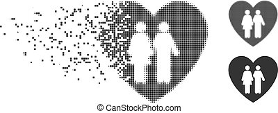 Family Love Heart Fractured Pixel Halftone Icon