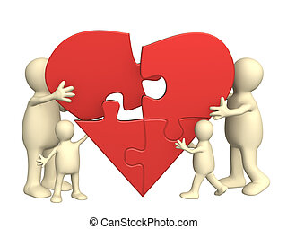 Family love - heart from parts of a puzzle