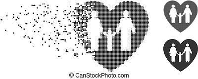 Family Love Heart Shredded Pixel Halftone Icon