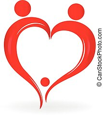 Family love heart symbol logo