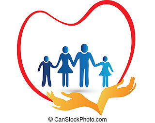 Family love protected by hands illustration vector