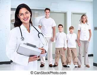 family., médico, mulher sorri, doutor