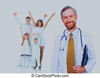 family., médico, sorrir feliz, doutor