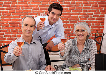 Family making a toast