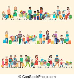 Family Making Purchases in Supermarket Flat Vector