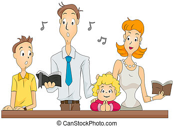 Family Mass - Family attending Masswith Clipping Path