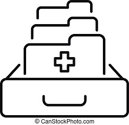 Family medical folders icon, outline style