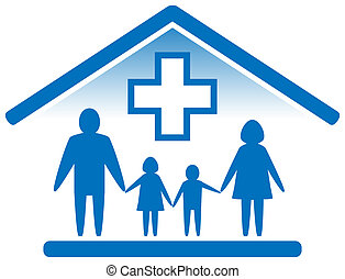 blue isolated medicine icon. family doctor symbol