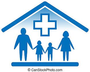family medicine icon - blue isolated medicine icon. family...