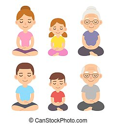 Family meditating lotus pose - Family meditating sitting in...