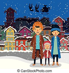 family members celebrating christmas in the neighborhood