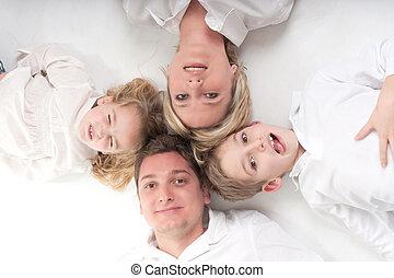 Family members circle
