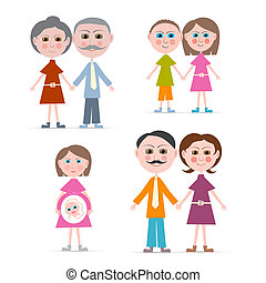 Family Members Illustration Isolated on white Background