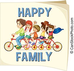 Family members riding on bike