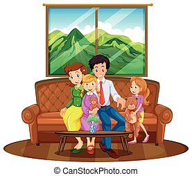 Family members sitting in living room illustration