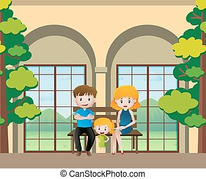 Family members sitting on the bench