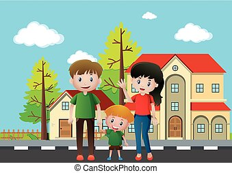 Family members standing in front of the house illustration