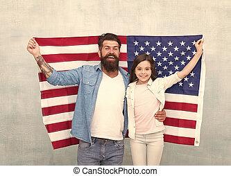 family., miembros, americanos, flag., oportunidad, ...