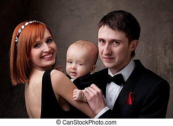 family., mládě, šťastný