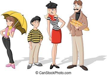 family., moda, caricatura, francés