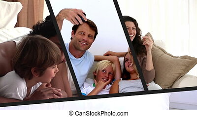 Family montage of different scenes of domestic life