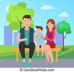 Family Mother Father and Son Sit on Bench in Park