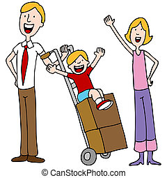 Family Moving Day - An image of a family getting ready to ...