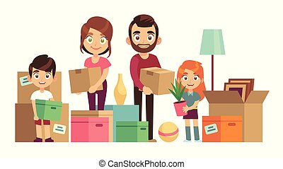 Family moving new home. Happy people packing unpacking boxes cardboard package deliver parents kids relocation, flat vector design