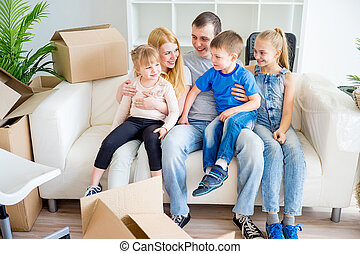 Family moving to a new home