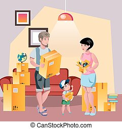 Family moving to new house. Flat style vector illustration