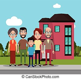 family near house residential vector illustration eps 10