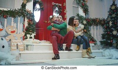 family new year photo shoot flash light